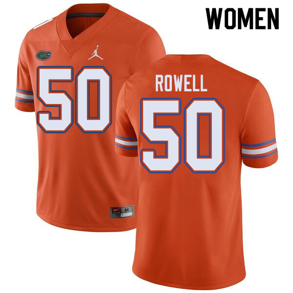 Jordan Brand Women #50 Tanner Rowell Florida Gators College Football Jerseys Sale-Orange
