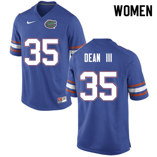Women #35 Trey Dean III Florida Gators College Football Jerseys Sale-Blue