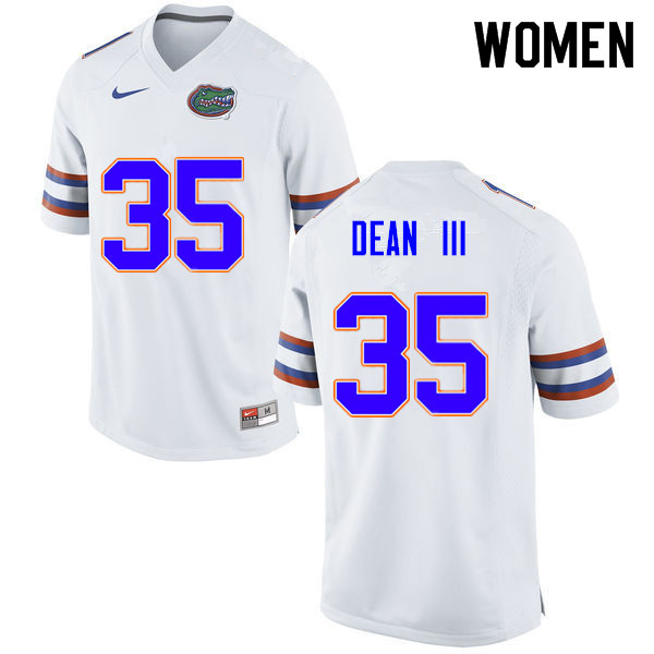 Women #35 Trey Dean III Florida Gators College Football Jerseys Sale-White