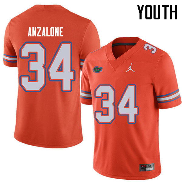 Jordan Brand Youth #34 Alex Anzalone Florida Gators College Football Jerseys Sale-Orange - Click Image to Close