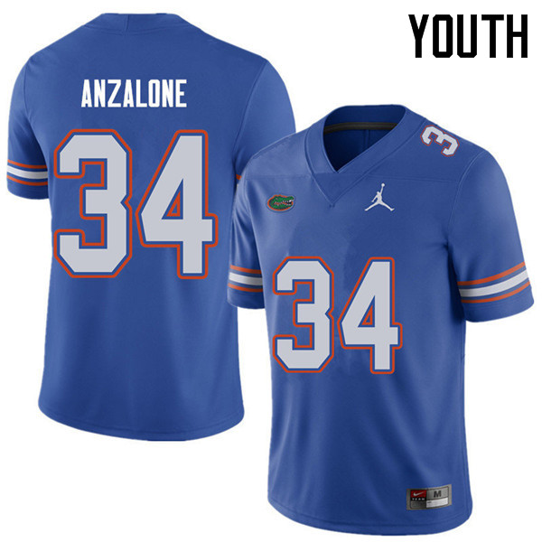 Jordan Brand Youth #34 Alex Anzalone Florida Gators College Football Jerseys Sale-Royal