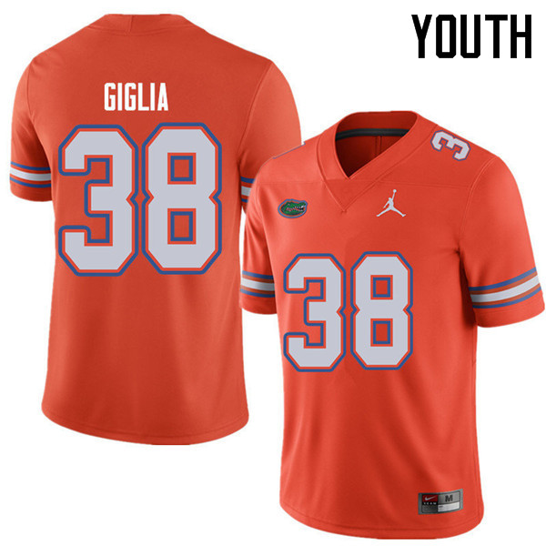 Jordan Brand Youth #38 Anthony Giglia Florida Gators College Football Jerseys Sale-Orange