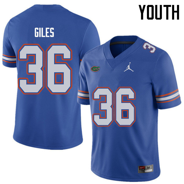 Jordan Brand Youth #36 Eddie Giles Florida Gators College Football Jerseys Sale-Royal