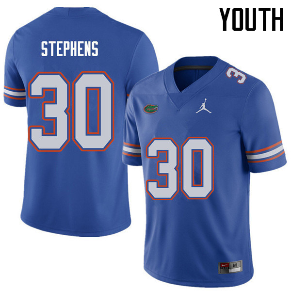 Jordan Brand Youth #30 Garrett Stephens Florida Gators College Football Jerseys Sale-Royal