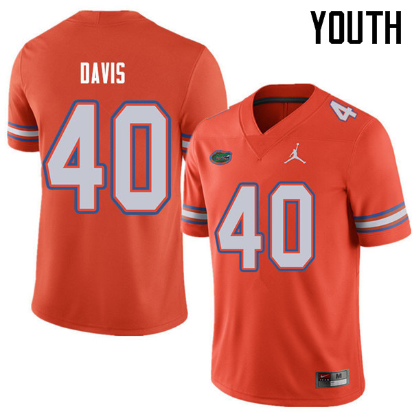 Jordan Brand Youth #40 Jarrad Davis Florida Gators College Football Jerseys Sale-Orange