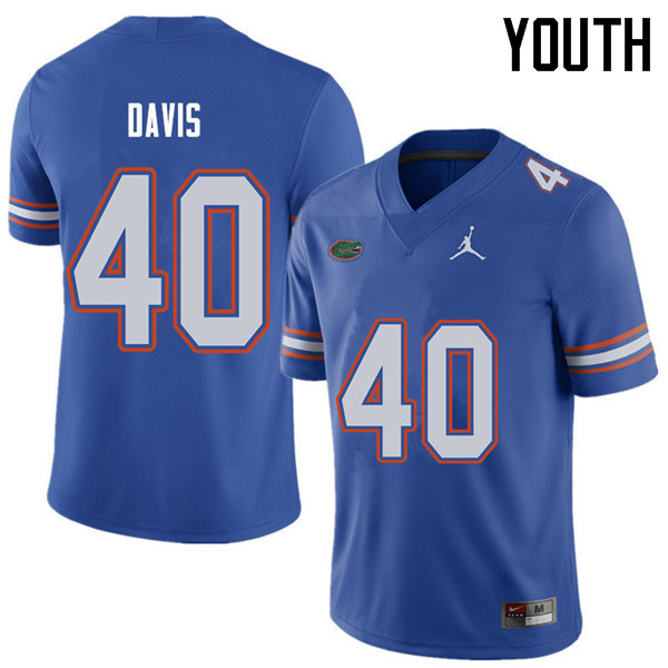 Jordan Brand Youth #40 Jarrad Davis Florida Gators College Football Jerseys Sale-Royal