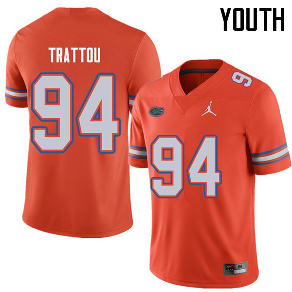 Jordan Brand Youth #94 Justin Trattou Florida Gators College Football Jerseys Sale-Orange
