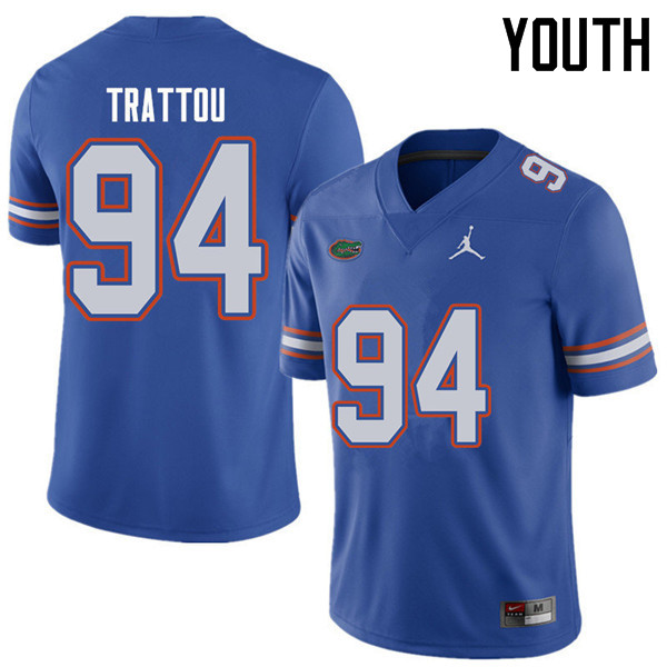 Jordan Brand Youth #94 Justin Trattou Florida Gators College Football Jerseys Sale-Royal