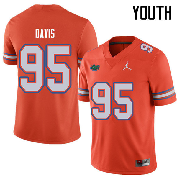 Jordan Brand Youth #95 Keivonnis Davis Florida Gators College Football Jerseys Sale-Orange