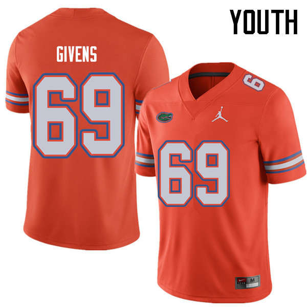 Jordan Brand Youth #69 Marcus Givens Florida Gators College Football Jerseys Sale-Orange