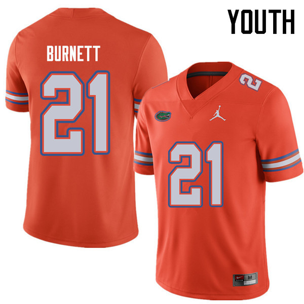 Jordan Brand Youth #21 McArthur Burnett Florida Gators College Football Jerseys Sale-Orange