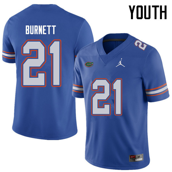 Jordan Brand Youth #21 McArthur Burnett Florida Gators College Football Jerseys Sale-Royal