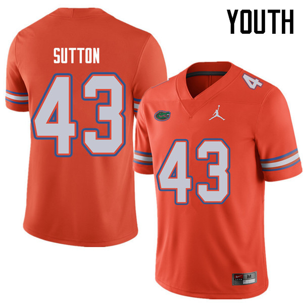 Jordan Brand Youth #43 Nicolas Sutton Florida Gators College Football Jerseys Sale-Orange