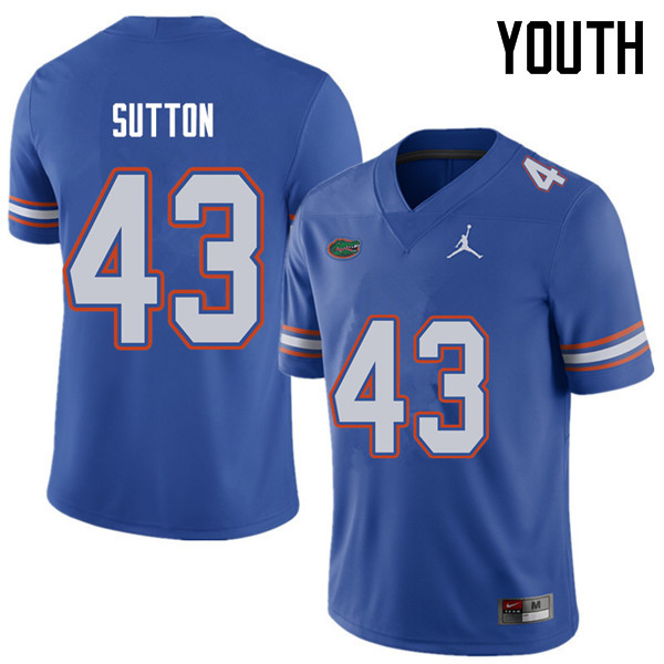 Jordan Brand Youth #43 Nicolas Sutton Florida Gators College Football Jerseys Sale-Royal