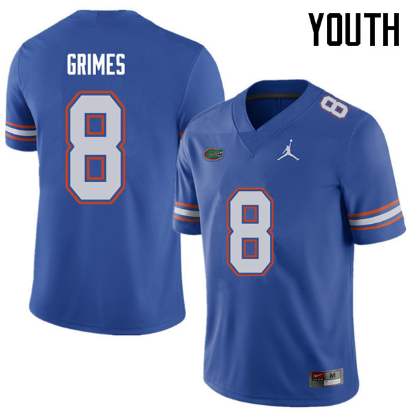 Jordan Brand Youth #8 Trevon Grimes Florida Gators College Football Jerseys Sale-Royal