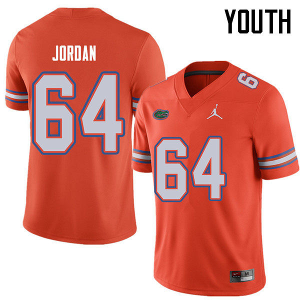 Jordan Brand Youth #64 Tyler Jordan Florida Gators College Football Jerseys Sale-Orange