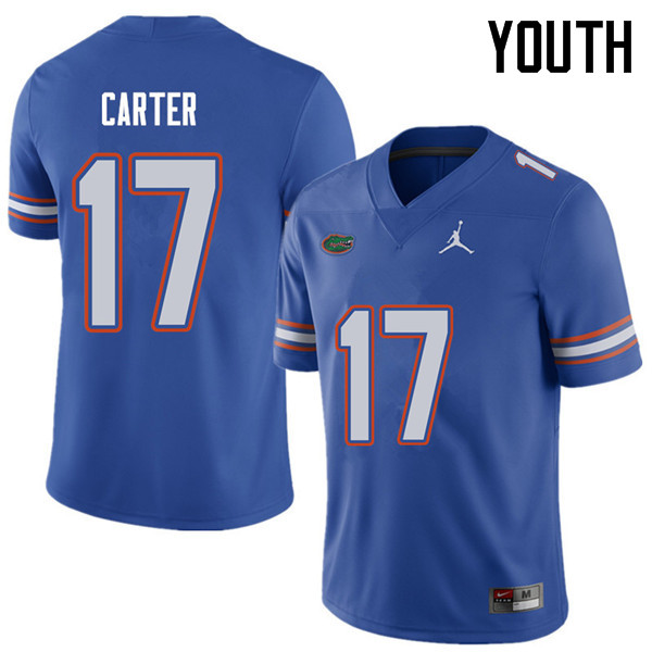 Jordan Brand Youth #17 Zachary Carter Florida Gators College Football Jerseys Sale-Royal