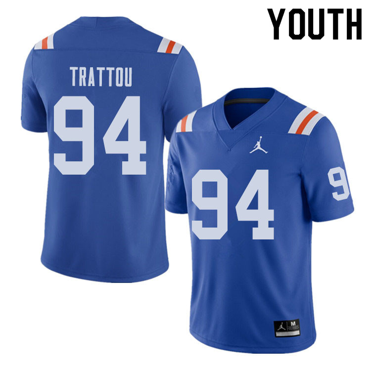 Jordan Brand Youth #94 Justin Trattou Florida Gators Throwback Alternate College Football Jerseys Sa