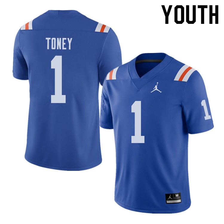 Jordan Brand Youth #1 Kadarius Toney Florida Gators Throwback Alternate College Football Jerseys Sal