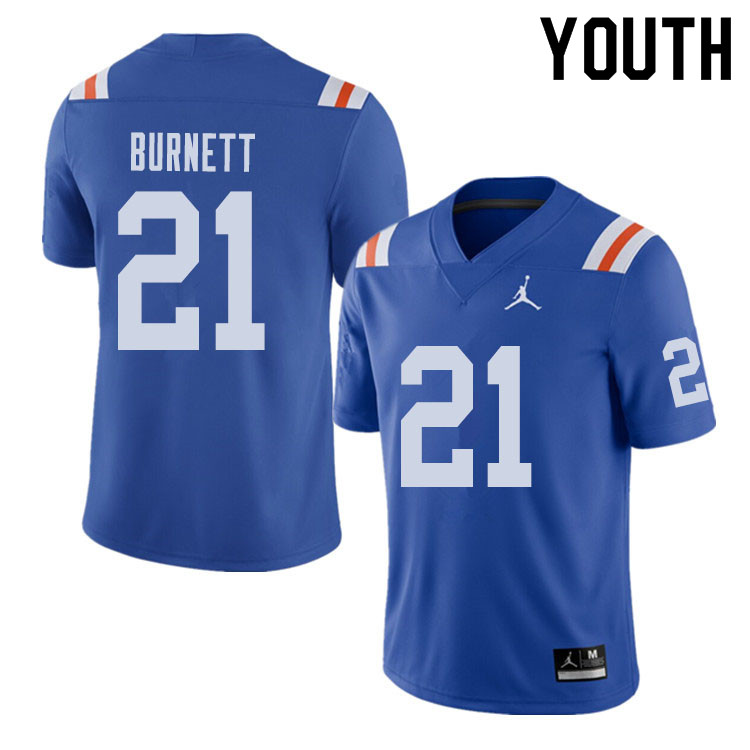 Jordan Brand Youth #21 McArthur Burnett Florida Gators Throwback Alternate College Football Jerseys