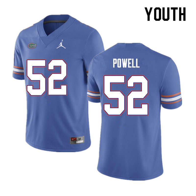 Youth #52 Antwuan Powell Florida Gators College Football Jerseys Sale-Blue