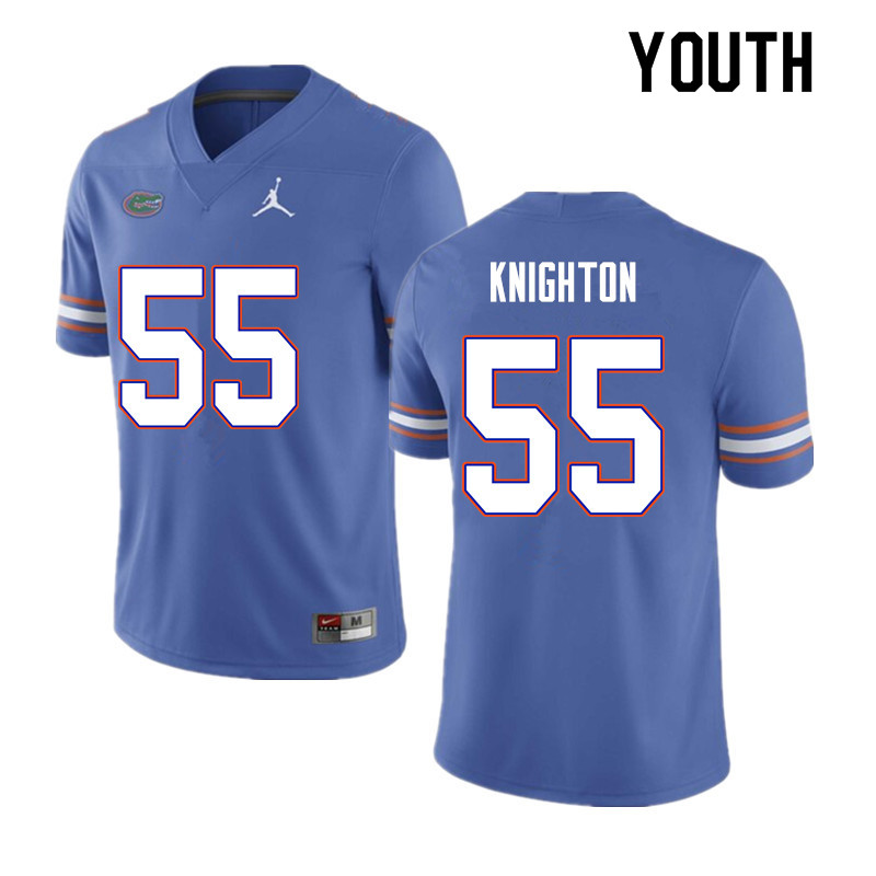 Youth #55 Hayden Knighton Florida Gators College Football Jerseys Sale-Blue
