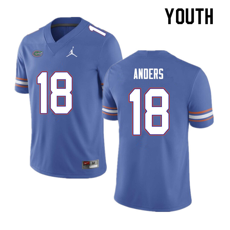 Youth #18 Jack Anders Florida Gators College Football Jerseys Sale-Blue