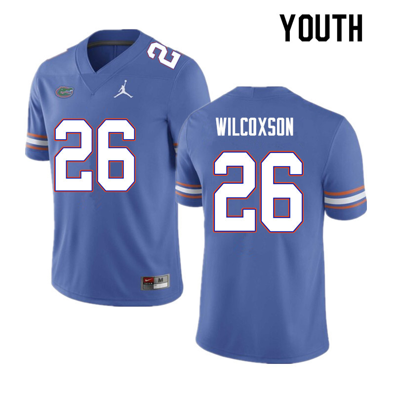 Youth #26 Kamar Wilcoxson Florida Gators College Football Jerseys Sale-Blue