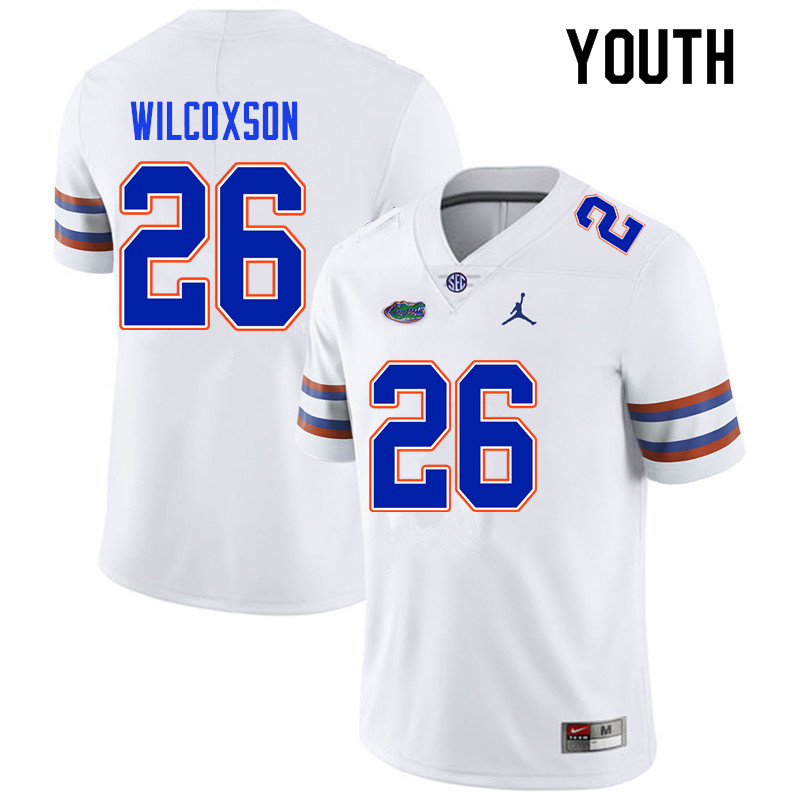 Youth #26 Kamar Wilcoxson Florida Gators College Football Jerseys Sale-White