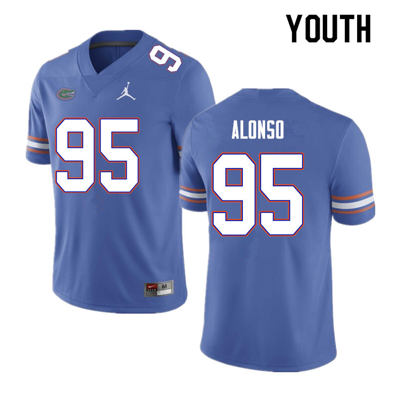 Youth #95 Lucas Alonso Florida Gators College Football Jerseys Sale-Blue