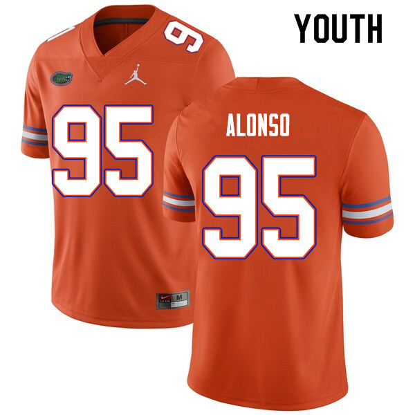 Youth #95 Lucas Alonso Florida Gators College Football Jerseys Sale-Orange