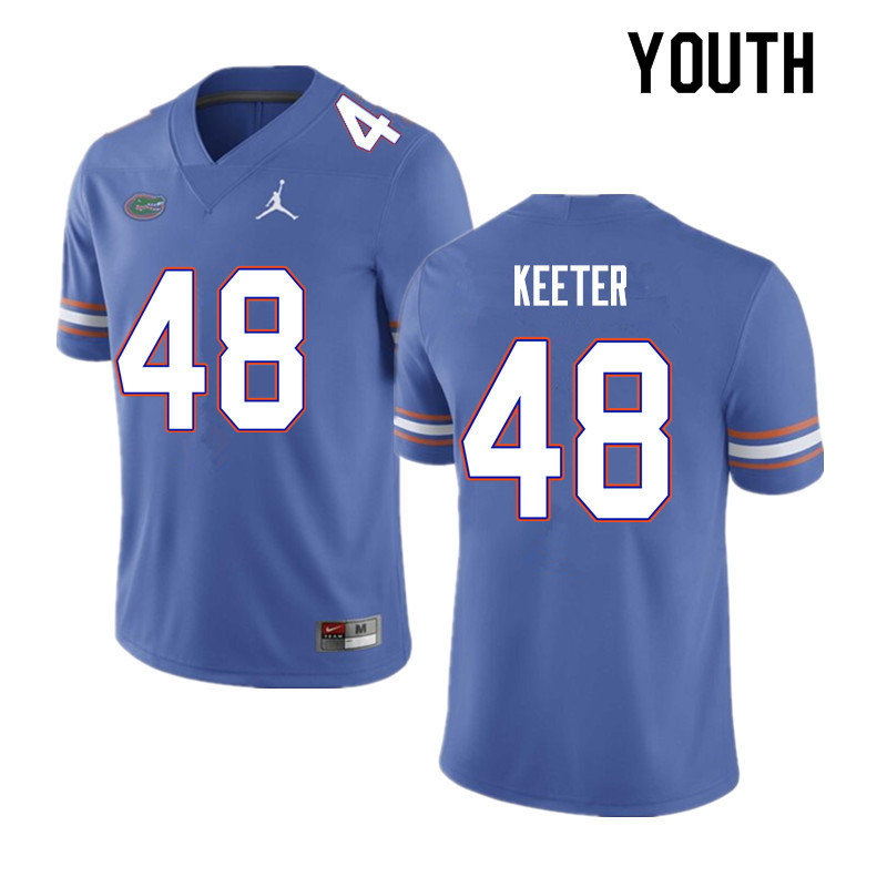 Youth #48 Noah Keeter Florida Gators College Football Jerseys Sale-Blue