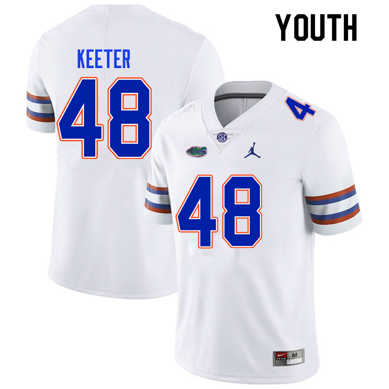 Youth #48 Noah Keeter Florida Gators College Football Jerseys Sale-White