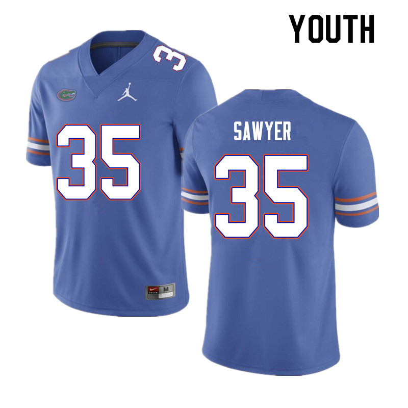 Youth #35 William Sawyer Florida Gators College Football Jerseys Sale-Blue