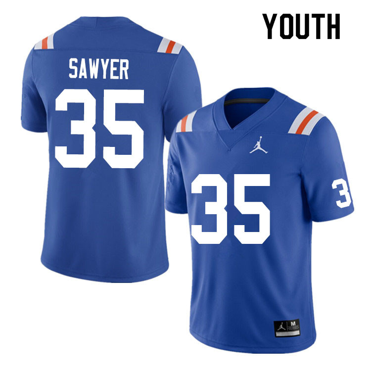 Youth #35 William Sawyer Florida Gators College Football Jerseys Sale-Throwback