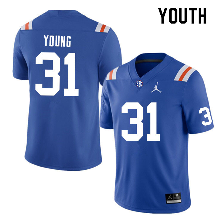 Youth #31 Jordan Young Florida Gators College Football Jerseys Sale-Throwback
