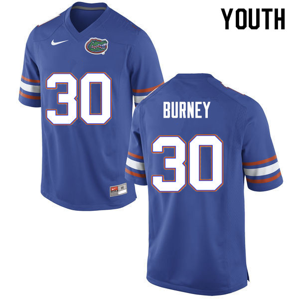 Youth #30 Amari Burney Florida Gators College Football Jerseys Sale-Blue