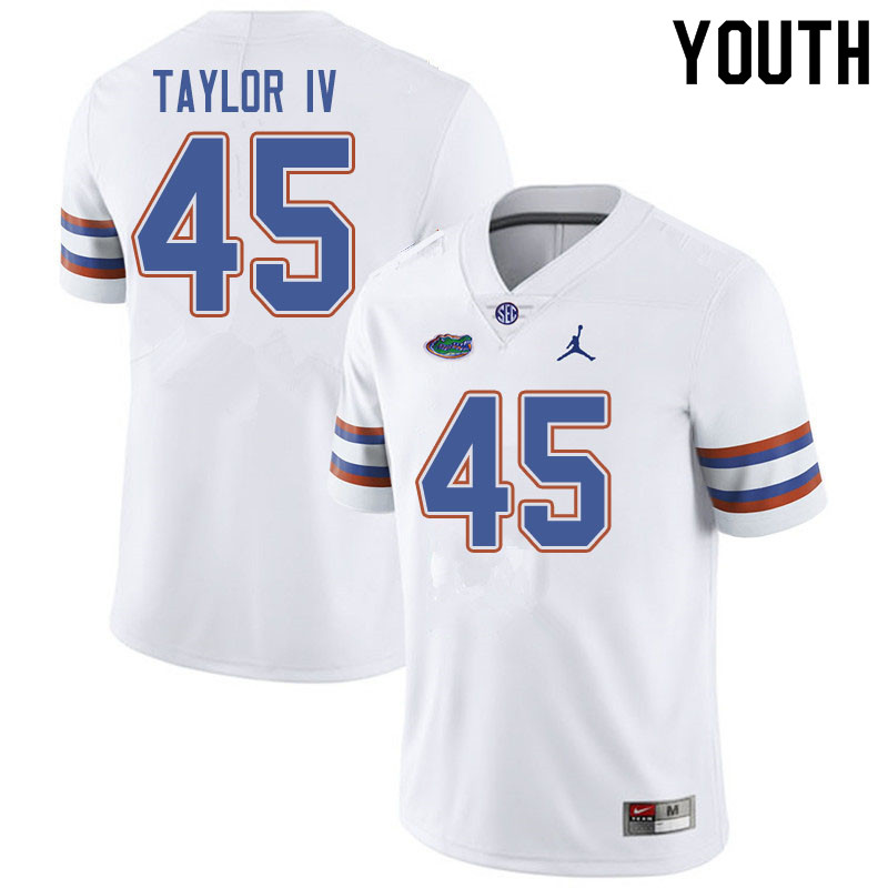 Jordan Brand Youth #45 Clifford Taylor IV Florida Gators College Football Jerseys Sale-White