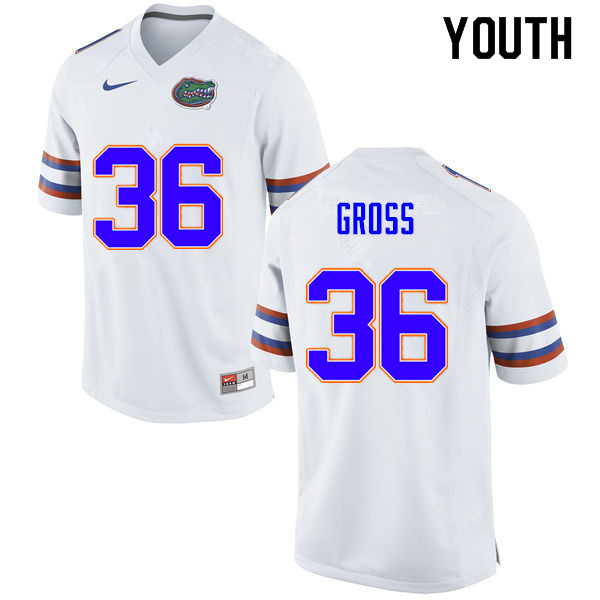 Youth #36 Dennis Gross Florida Gators College Football Jerseys Sale-White