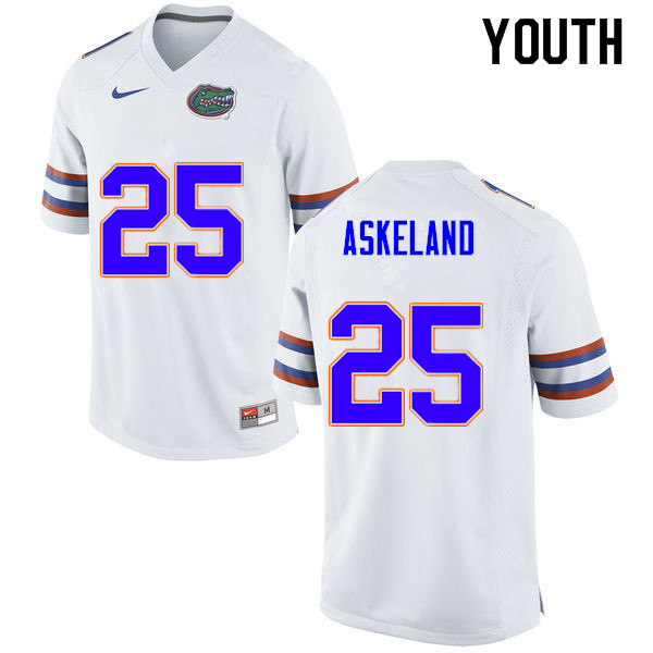 Youth #25 Erik Askeland Florida Gators College Football Jerseys Sale-White