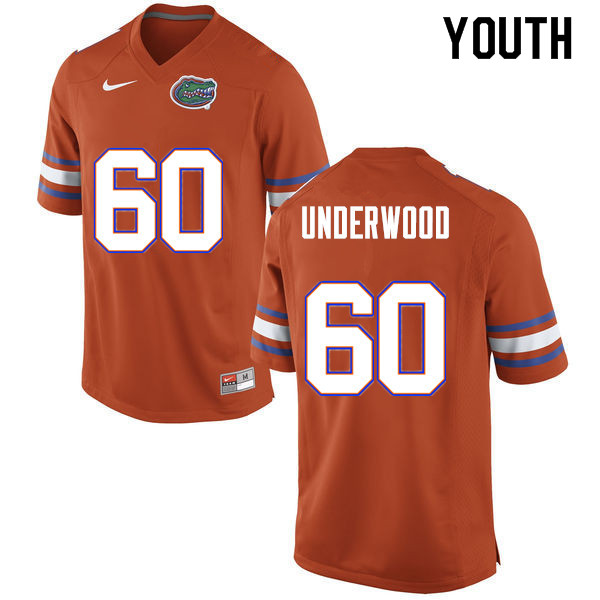 Youth #60 Houston Underwood Florida Gators College Football Jerseys Sale-Orange