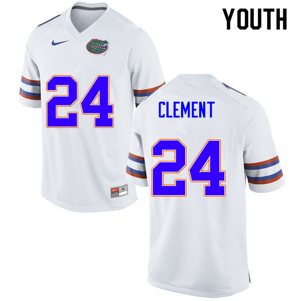 Youth #24 Iverson Clement Florida Gators College Football Jerseys Sale-White
