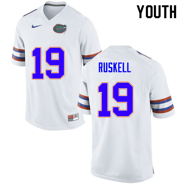 Youth #19 Jack Ruskell Florida Gators College Football Jerseys Sale-White
