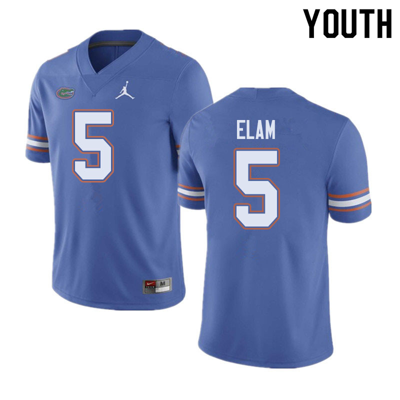 Jordan Brand Youth #5 Kaiir Elam Florida Gators College Football Jerseys Sale-Blue