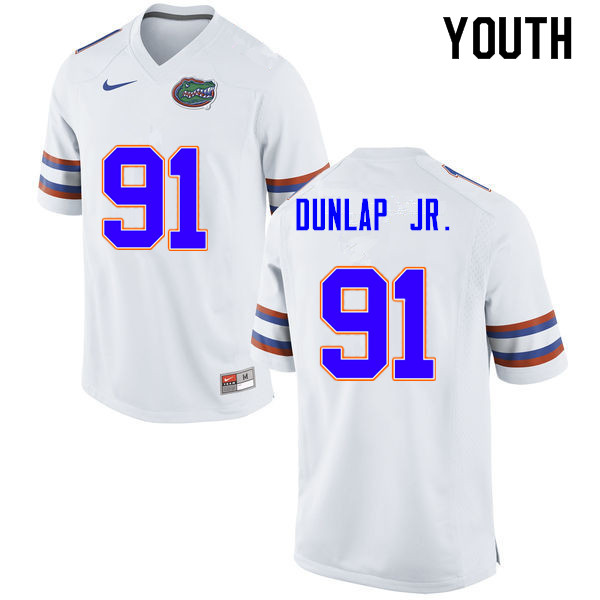 Youth #91 Marlon Dunlap Jr. Florida Gators College Football Jerseys Sale-White
