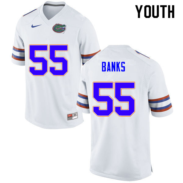 Youth #55 Noah Banks Florida Gators College Football Jerseys Sale-White