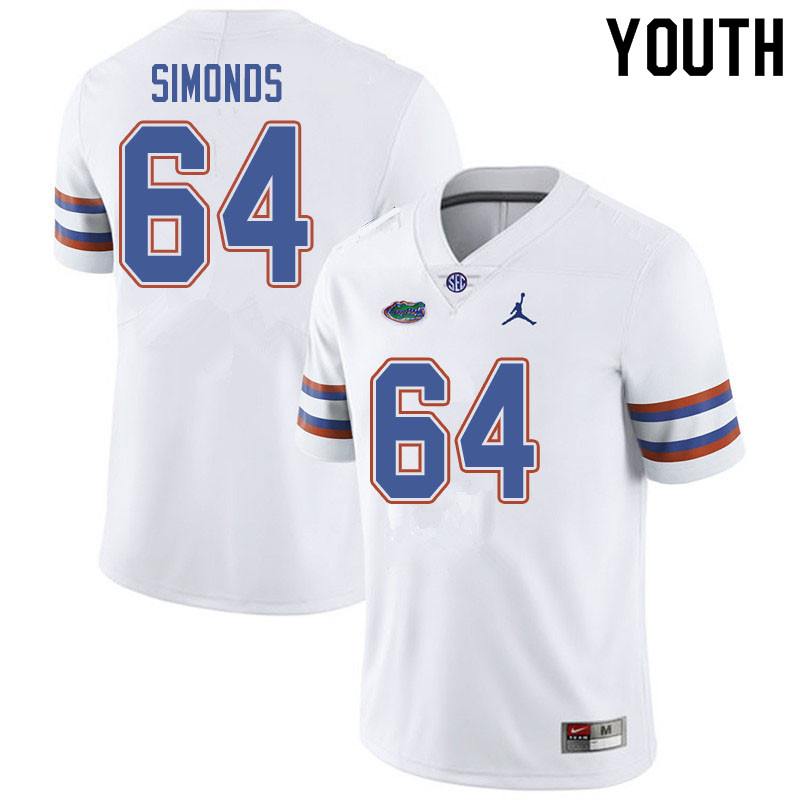 Jordan Brand Youth #64 Riley Simonds Florida Gators College Football Jerseys Sale-White