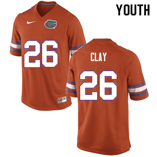 Youth #26 Robert Clay Florida Gators College Football Jerseys Sale-Orange