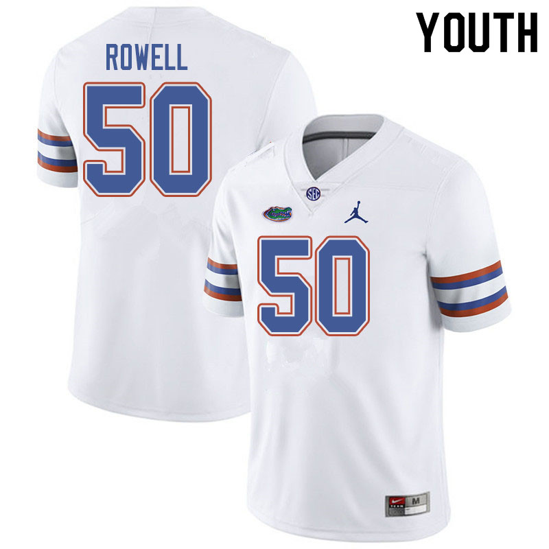 Jordan Brand Youth #50 Tanner Rowell Florida Gators College Football Jerseys Sale-White