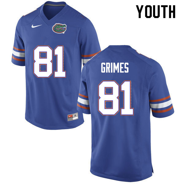 Youth #81 Trevon Grimes Florida Gators College Football Jerseys Sale-Blue